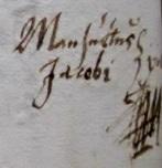 Mansuetus Jacobin sinetti nimikirjoitus