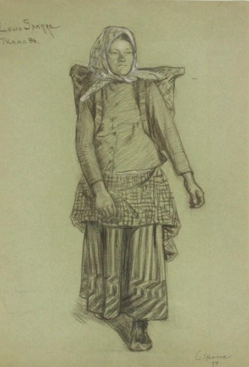 Sotkamon tyttö kontti selässä 1894 Louis Sparre